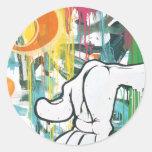 Hand of Man Round Stickers