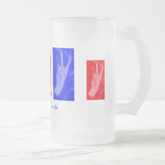 Hand of Peace-Red and Blue Frosted Glass Mug
