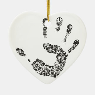 Hand office ceramic heart ornament