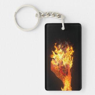 Hand on fire Double-Sided rectangular acrylic keychain