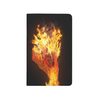 Hand on fire journal