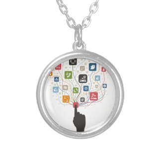 Hand on the button silver plated necklace