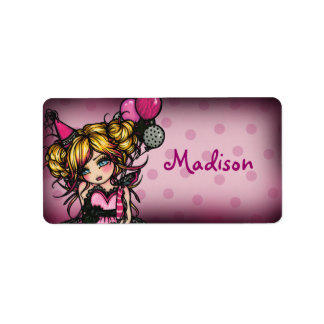"""""""Hand Out"""" Invite Birthday Girl Label Stickers"""