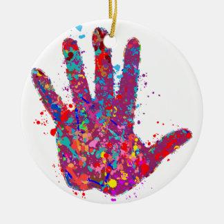 Hand, Outline, Drip Art Ceramic Ornament