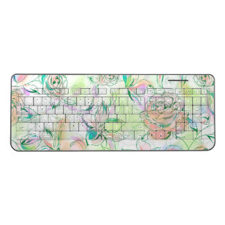 Hand Paint Colorful Roses Wireless Keyboard
