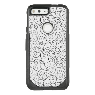Hand-Painted Black Curves on White OtterBox Commuter Google Pixel Case
