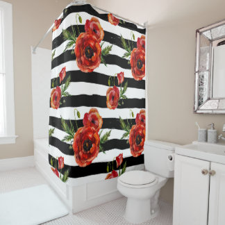Hand Painted Black Stripes Red Poppy Flowers