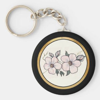 Hand Painted Blossoms Basic Round Button Keychain