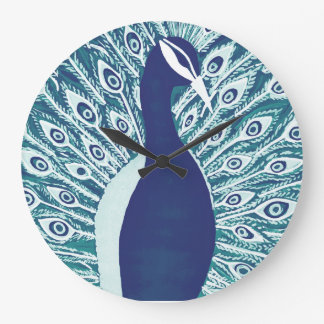 Hand Painted Blue Peacock Large Clock