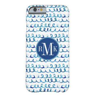 Hand Painted Blue Watercolor Wavy Pattern Barely There iPhone 6 Case