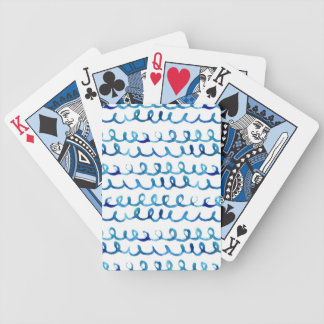 Hand Painted Blue Watercolor Wavy Pattern Bicycle Playing Cards