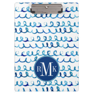 Hand Painted Blue Watercolor Wavy Pattern Clipboard