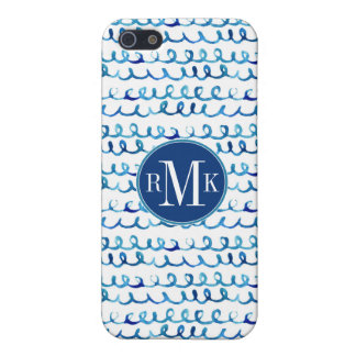 Hand Painted Blue Watercolor Wavy Pattern Cover For iPhone 5/5S