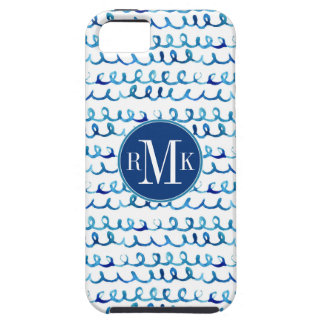 Hand Painted Blue Watercolor Wavy Pattern iPhone 5 Cover