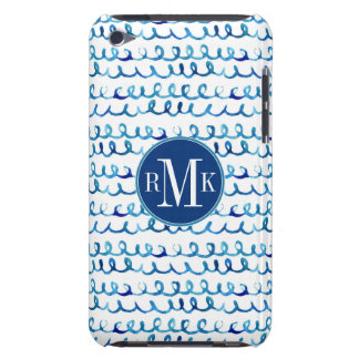 Hand Painted Blue Watercolor Wavy Pattern iPod Touch Case-Mate Case