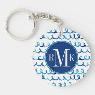 Hand Painted Blue Watercolor Wavy Pattern Keychain