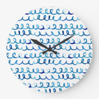 Hand Painted Blue Watercolor Wavy Pattern Large Clock