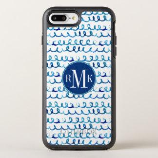 Hand Painted Blue Watercolor Wavy Pattern OtterBox Symmetry iPhone 8 Plus/7 Plus Case