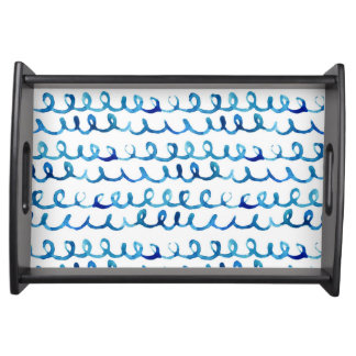 Hand Painted Blue Watercolor Wavy Pattern Serving Tray