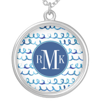 Hand Painted Blue Watercolor Wavy Pattern Silver Plated Necklace