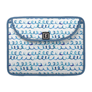 Hand Painted Blue Watercolor Wavy Pattern Sleeve For MacBook Pro