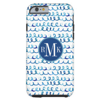 Hand Painted Blue Watercolor Wavy Pattern Tough iPhone 6 Case