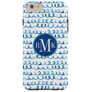 Hand Painted Blue Watercolor Wavy Pattern Tough iPhone 6 Plus Case