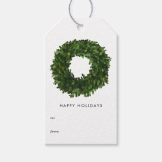 Hand Painted Boxwood Wreath Holiday Gift Tags
