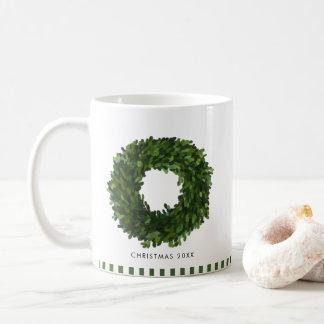 Hand Painted Boxwood Wreath Personalized Holiday Coffee Mug