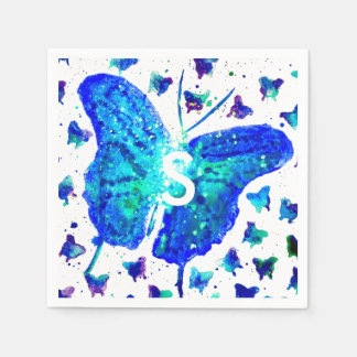 Hand Painted Butterfly Cocktail Napkins Disposable Napkin