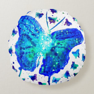 Hand Painted Butterfly Round Throw Pillow