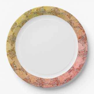 Hand-Painted_China-Golden-Sea-glass-Fabric-Print Paper Plate