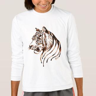Hand Painted Chocolate Tiger Art Girl's Longsleeve T-Shirt