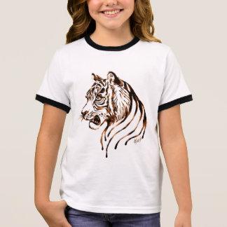 Hand Painted Chocolate Tiger Art Girl's Shirt