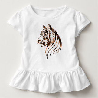 Hand Painted Chocolate Tiger Toddler Ruffle Tee