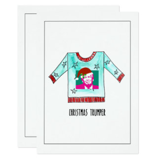 Hand painted Christmas Trumper Jumper Card