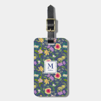 Hand-painted Colorful Tropical Flowers Monogram Luggage Tag