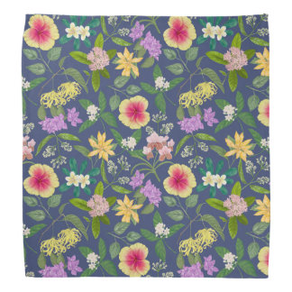 Hand-painted Colorful Tropical Flowers Pattern Bandana