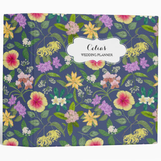 Hand-painted Colorful Tropical Flowers Pattern Binder