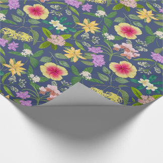 Hand-painted Colorful Tropical Flowers Pattern Wrapping Paper