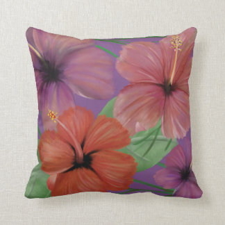Hand painted colourful hibiscus throw pillow