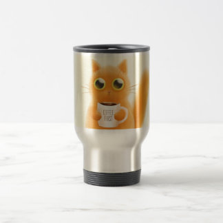 Hand painted cute kitten with coffee first cup