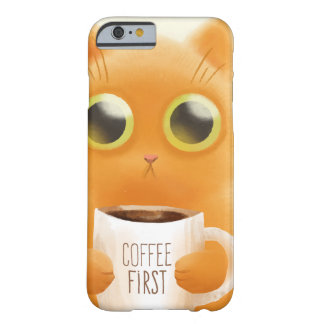 Hand painted cute kitten with coffee first cup barely there iPhone 6 case
