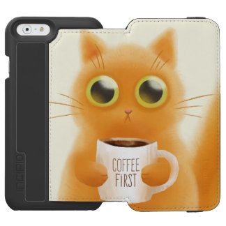 Hand painted cute kitten with coffee first cup incipio watson™ iPhone 6 wallet case
