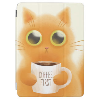 Hand painted cute kitten with coffee first cup iPad air cover