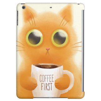 Hand painted cute kitten with coffee first cup iPad air covers