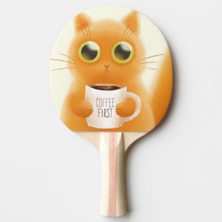 Hand painted cute kitten with coffee first cup ping pong paddle