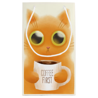 Hand painted cute kitten with coffee first cup small gift bag