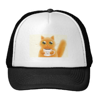 Hand painted cute kitten with coffee first cup trucker hat