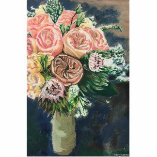 Hand Painted Floral Bouquet 3D Photo Silhouette Standing Photo Sculpture